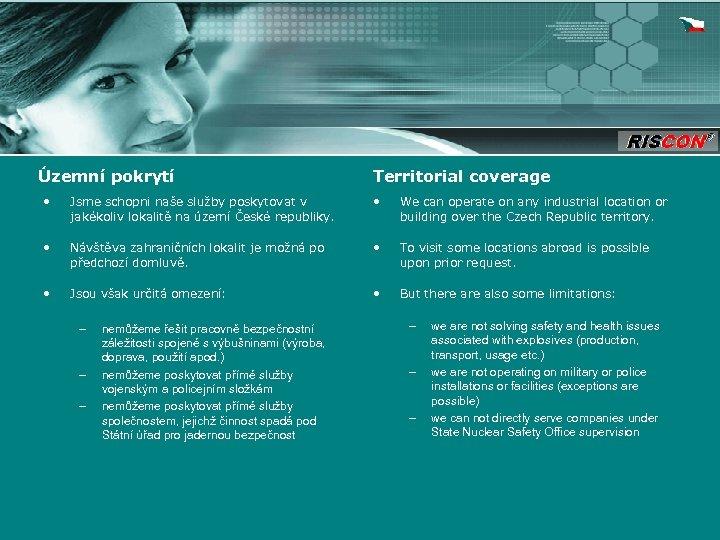 Územní pokrytí Territorial coverage • Jsme schopni naše služby poskytovat v jakékoliv lokalitě na