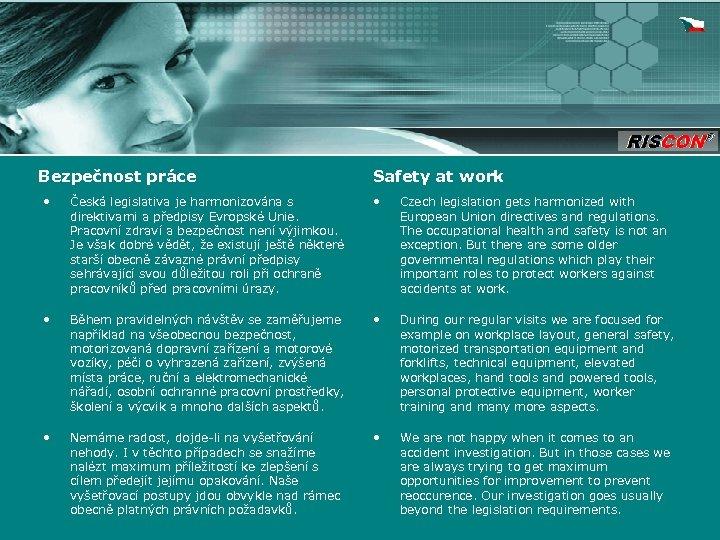Bezpečnost práce Safety at work • Česká legislativa je harmonizována s direktivami a předpisy