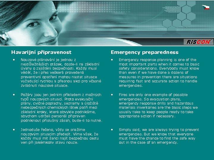 Havarijní připravenost Emergency preparedness • Nouzové plánování je jednou z nejdůležitějších otázek, dojde-li na