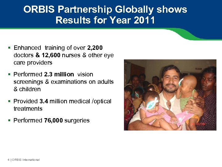 ORBIS Partnership Globally shows Results for Year 2011 § Enhanced training of over 2,