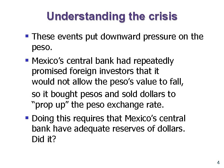 the mexican peso crisis The mexican peso crisis: exchange rate policy and financial system management by brian kingston an honours essay submitted to carleton university in fulfillment.