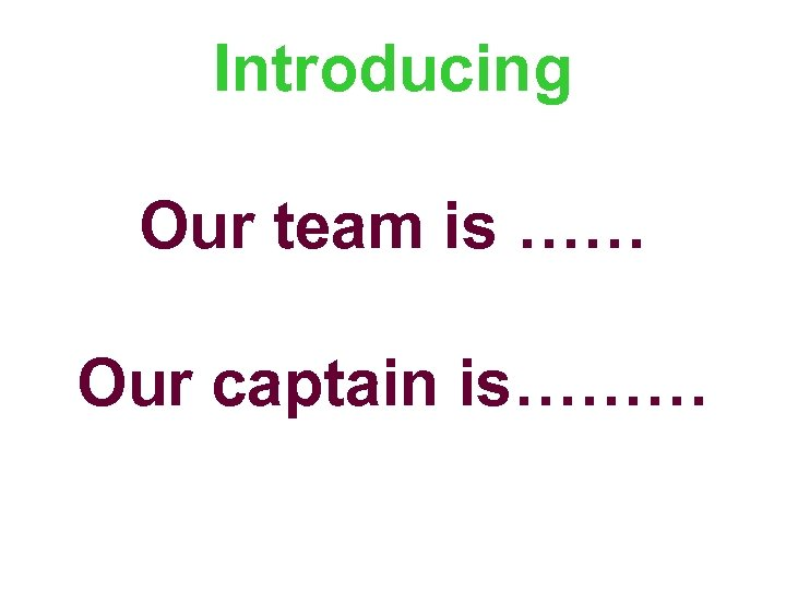 Introducing Our team is …… Our captain is………