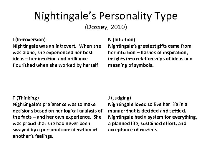 Nightingale's Personality Type (Dossey, 2010) I (Introversion) Nightingale was an introvert. When she was