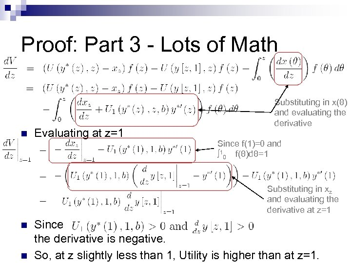 Proof: Part 3 - Lots of Math n Evaluating at z=1 Substituting in x(θ)
