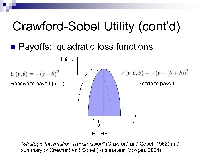 Crawford-Sobel Utility (cont'd) n Payoffs: quadratic loss functions Utility Receiver's payoff (b=0) Sender's payoff