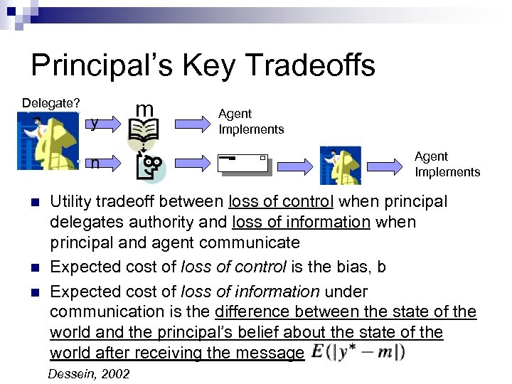 Principal's Key Tradeoffs Delegate? y n n m Agent Implements Utility tradeoff between loss