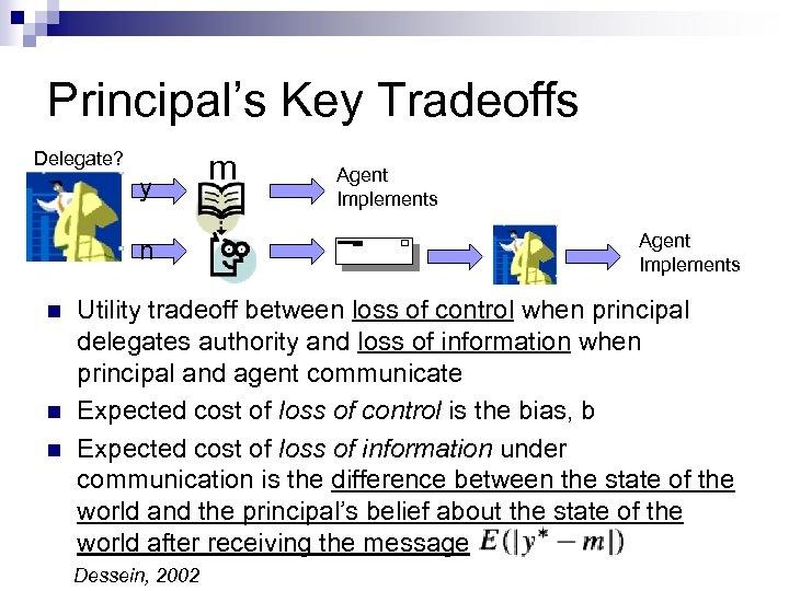 Principal's Key Tradeoffs Delegate? y n n m Agent Implements Utility tradeoff between loss