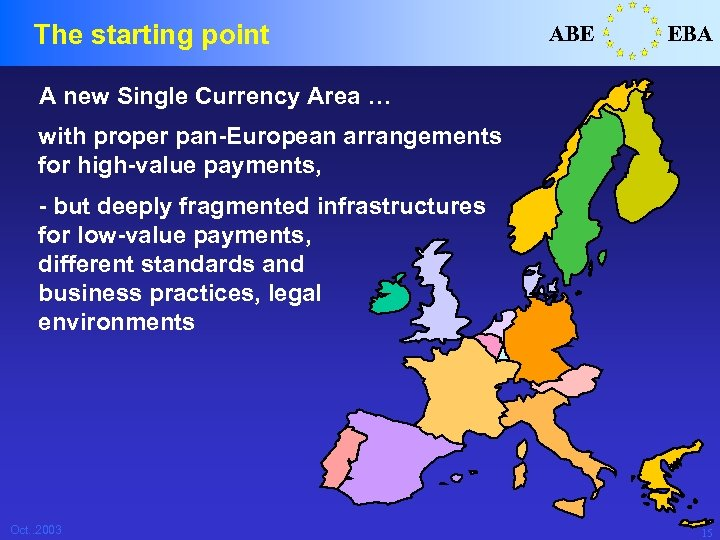 The starting point ABE EBA A new Single Currency Area … with proper pan-European