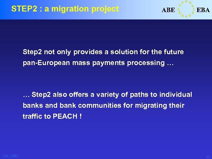 STEP 2 : a migration project ABE EBA Step 2 not only provides a