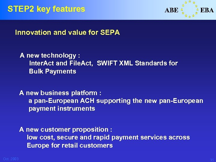 STEP 2 key features ABE EBA Innovation and value for SEPA A new technology