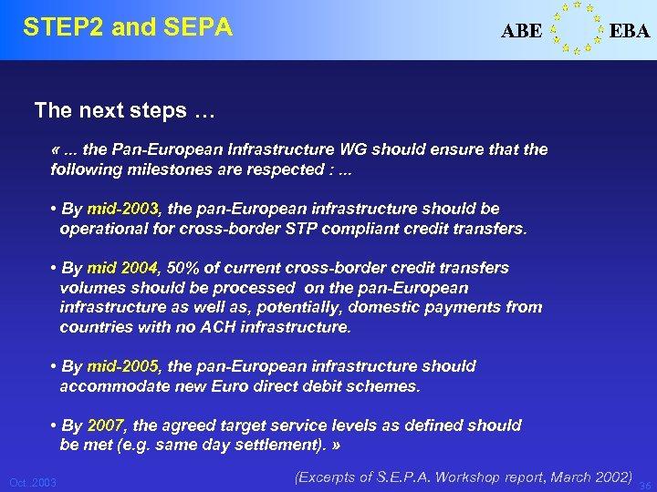 STEP 2 and SEPA ABE EBA The next steps … «. . . the
