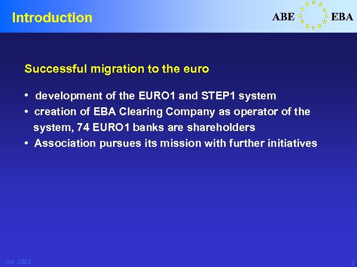 Introduction ABE EBA Successful migration to the euro • development of the EURO 1