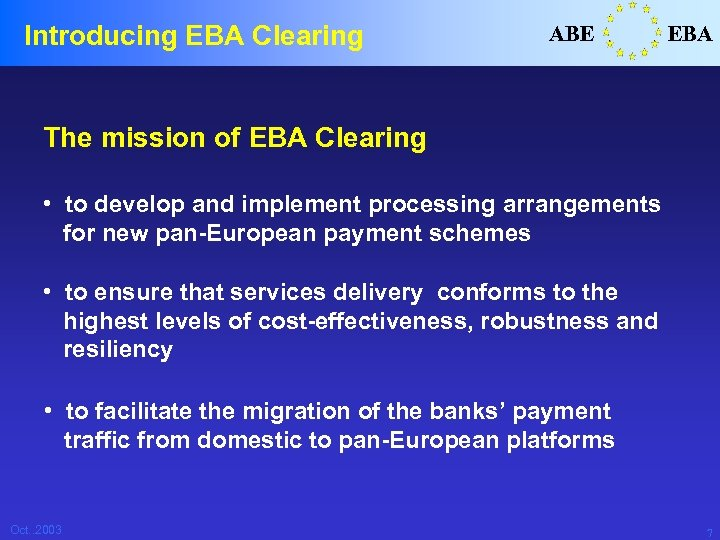 Introducing EBA Clearing ABE EBA The mission of EBA Clearing • to develop and