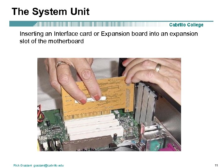The System Unit Inserting an Interface card or Expansion board into an expansion slot