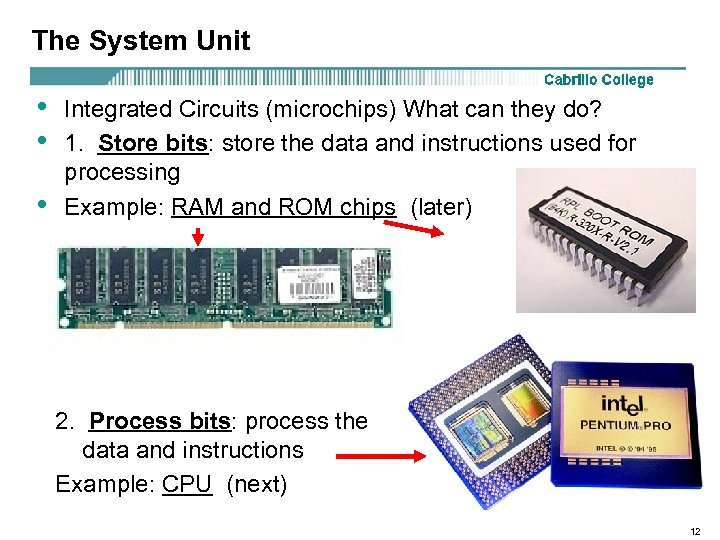 The System Unit • • • Integrated Circuits (microchips) What can they do? 1.