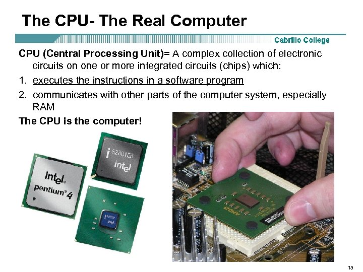 The CPU- The Real Computer CPU (Central Processing Unit)= A complex collection of electronic