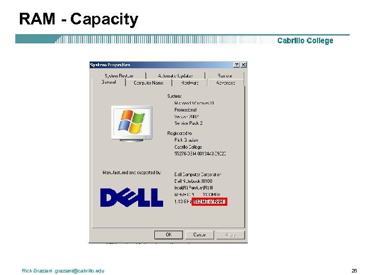 RAM - Capacity Rick Graziani graziani@cabrillo. edu 26