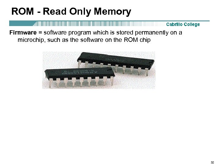 ROM - Read Only Memory Firmware = software program which is stored permanently on