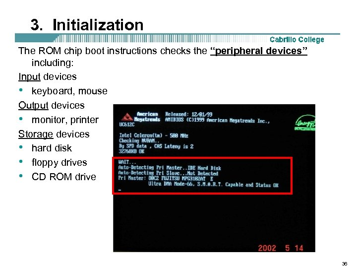 "3. Initialization The ROM chip boot instructions checks the ""peripheral devices"" including: Input devices"