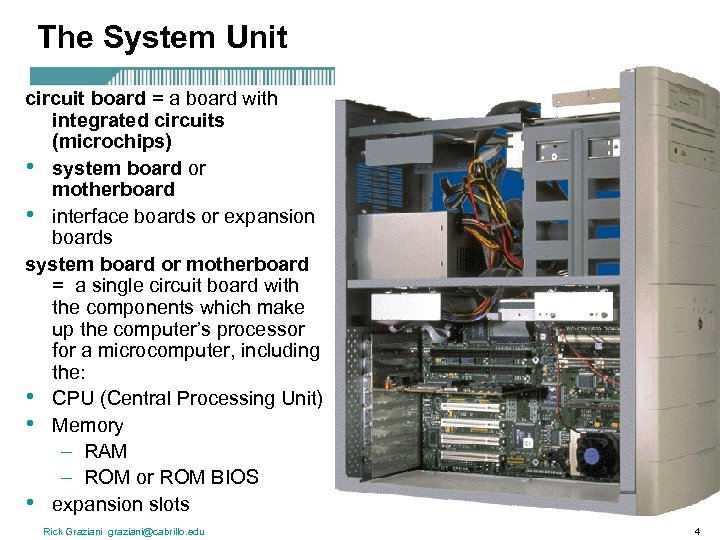 The System Unit circuit board = a board with integrated circuits (microchips) • system