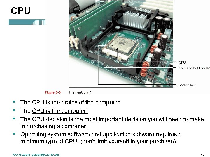 CPU • • The CPU is the brains of the computer. The CPU is