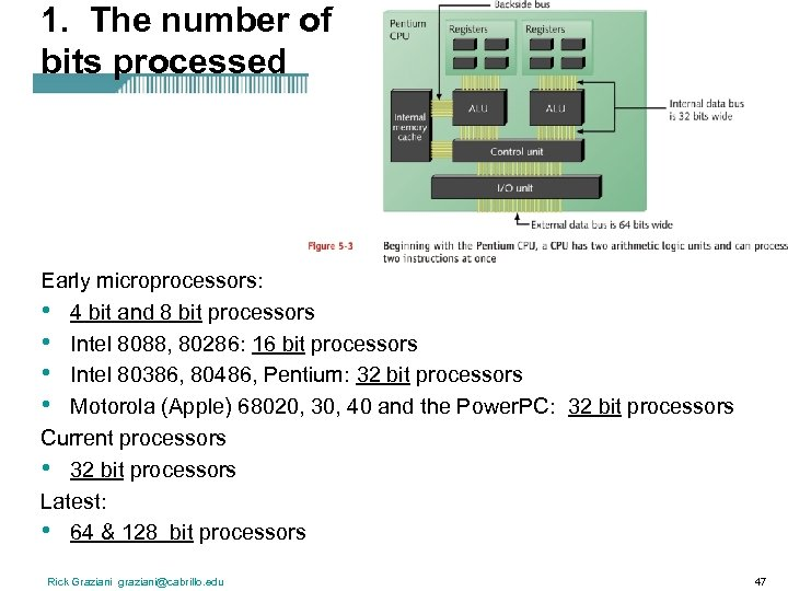 1. The number of bits processed Early microprocessors: • 4 bit and 8 bit