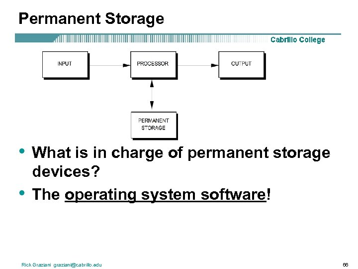Permanent Storage • • What is in charge of permanent storage devices? The operating