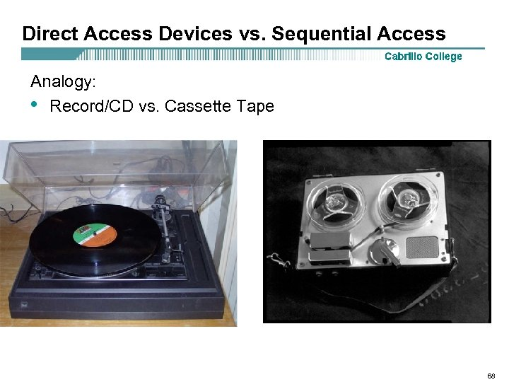 Direct Access Devices vs. Sequential Access Analogy: • Record/CD vs. Cassette Tape 68
