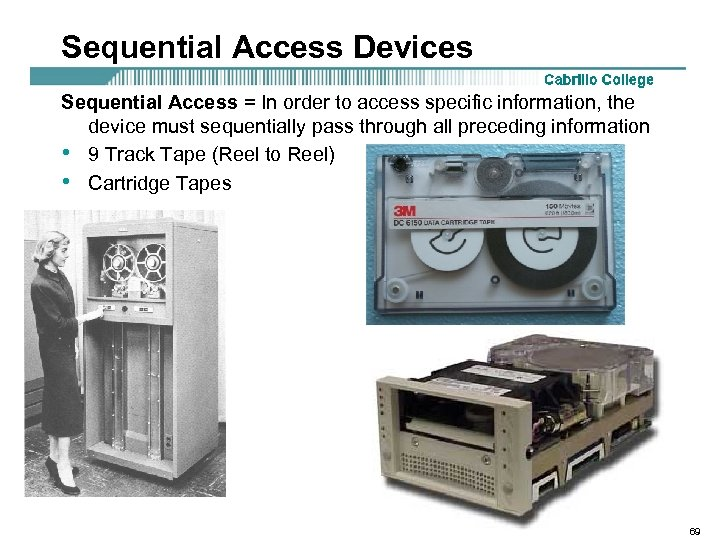 Sequential Access Devices Sequential Access = In order to access specific information, the device