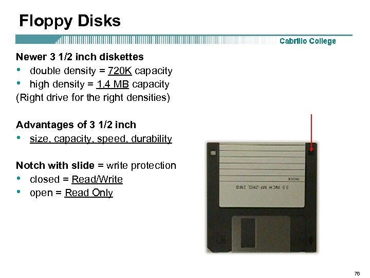 Floppy Disks Newer 3 1/2 inch diskettes • double density = 720 K capacity