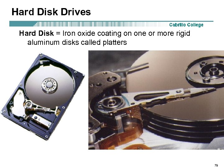 Hard Disk Drives Hard Disk = Iron oxide coating on one or more rigid