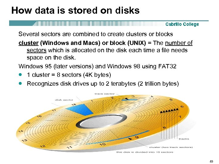 How data is stored on disks Several sectors are combined to create clusters or