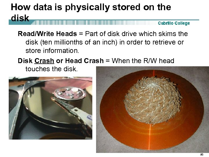How data is physically stored on the disk Read/Write Heads = Part of disk