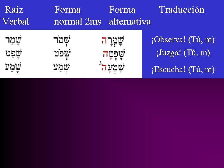Raíz Verbal Forma Traducción normal 2 ms alternativa ¡Observa! (Tú, m) ¡Juzga! (Tú, m)