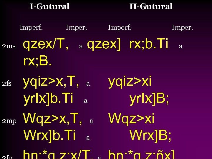 I-Gutural Imperf. 2 ms 2 fs 2 mp Imper. II-Gutural Imperf. qzex/T, a qzex]