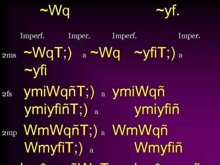 ~Wq Imperf. 2 ms 2 fs 2 mp Imper. ~yf. Imperf. Imper. ~Wq. T;