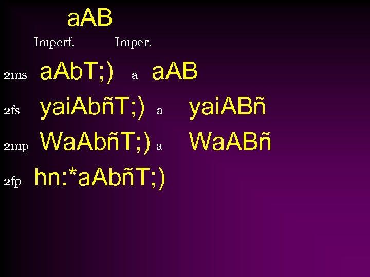 a. AB Imperf. Imper. a. Ab. T; ) a a. AB 2 fs yai.