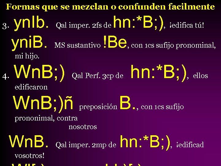 Formas que se mezclan o confunden facilmente 3. yn. Ib. yni. B. hn: *B;