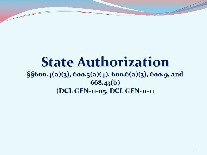 State Authorization §§ 600. 4(a)(3), 600. 5(a)(4), 600. 6(a)(3), 600. 9, and 668. 43(b)