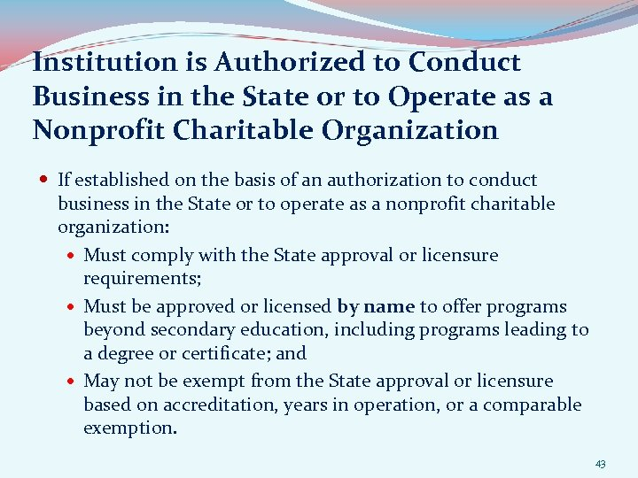 Institution is Authorized to Conduct Business in the State or to Operate as a
