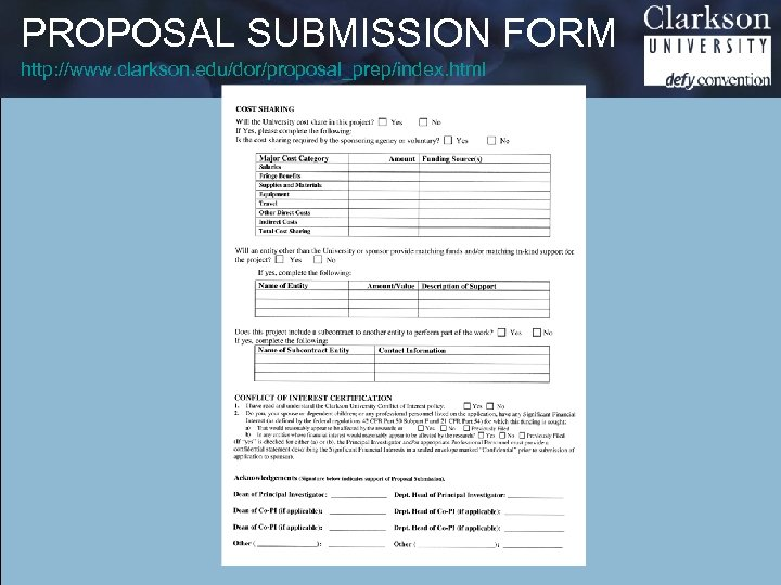 PROPOSAL SUBMISSION FORM http: //www. clarkson. edu/dor/proposal_prep/index. html