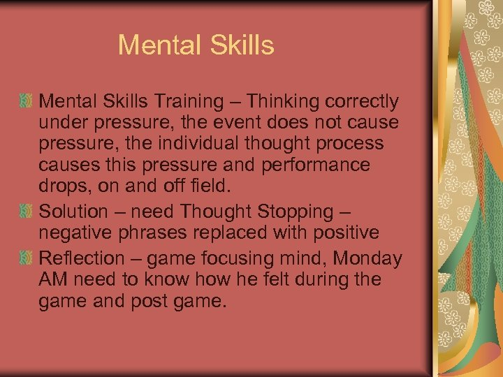 Mental Skills Training – Thinking correctly under pressure, the event does not cause pressure,