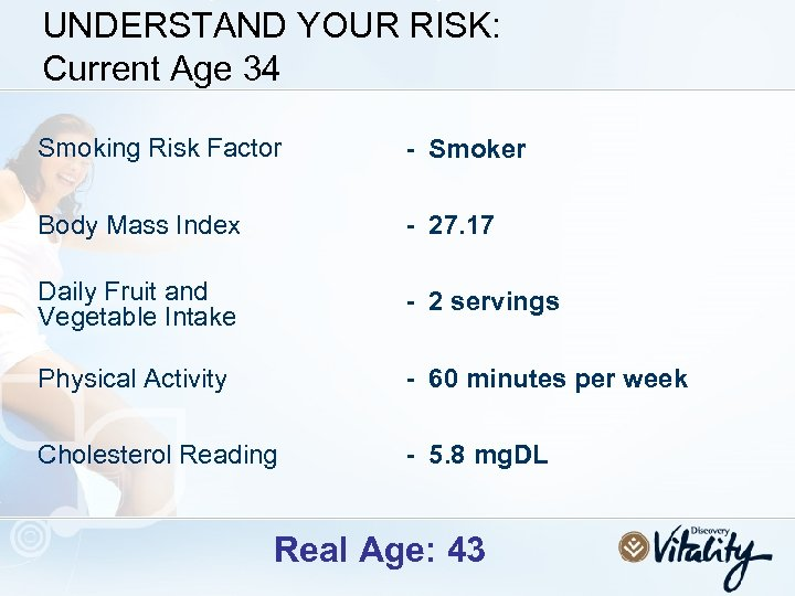 UNDERSTAND YOUR RISK: Current Age 34 Smoking Risk Factor - Smoker Body Mass Index