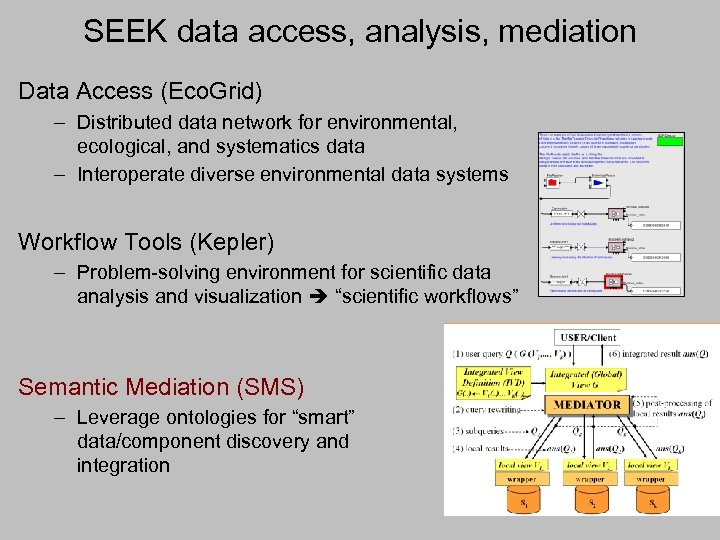 SEEK data access, analysis, mediation Data Access (Eco. Grid) – Distributed data network for