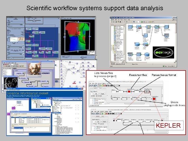 Scientific workflow systems support data analysis KEPLER