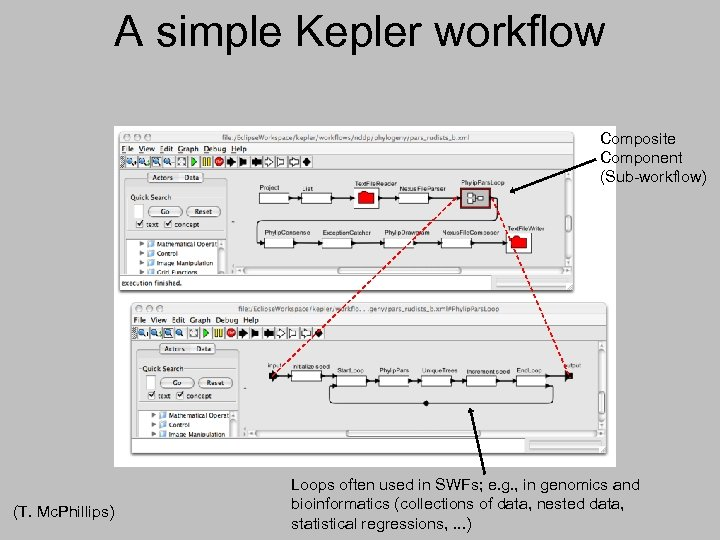 A simple Kepler workflow Composite Component (Sub-workflow) (T. Mc. Phillips) Loops often used in