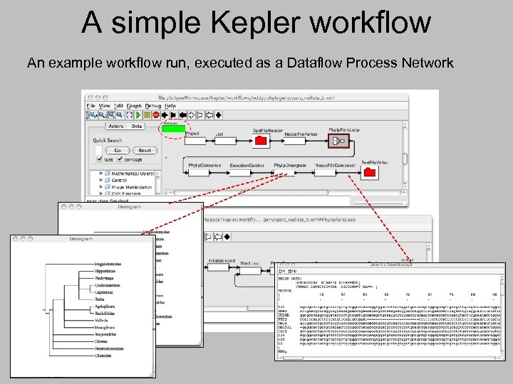 A simple Kepler workflow An example workflow run, executed as a Dataflow Process Network