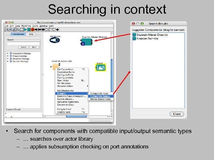 Searching in context • Search for components with compatible input/output semantic types – …