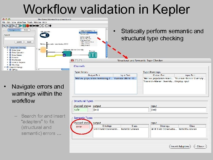 Workflow validation in Kepler • Statically perform semantic and structural type checking • Navigate