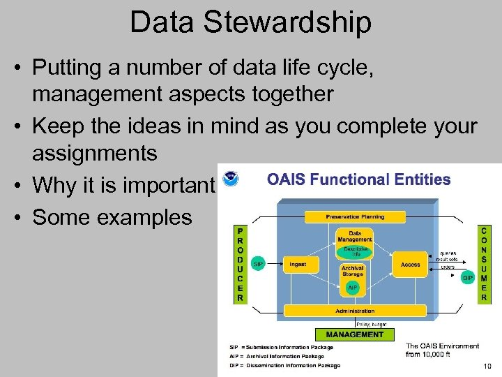 Data Stewardship • Putting a number of data life cycle, management aspects together •